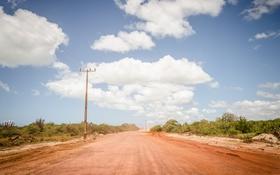 Обои дорога, небо, облака, провода