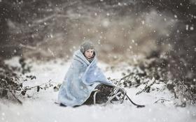 Обои зима, снег, девочка