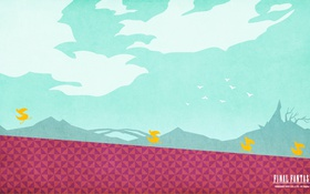 Обои Chocobo, Чокобо, Final Fantasy XV, Square Enix, прыжок, тучи, птицы