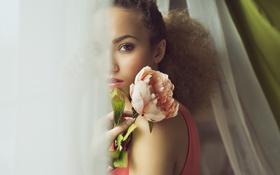 Картинка девушка, цветы, лицо, фон, волосы