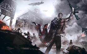 Картинка война, флаг, воин, солдат, восстание, Homefront: The Revolution