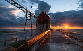 Обои море, закат, маяк