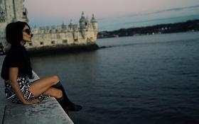 Картинка море, девушка, берег, очки, vanessa hudgens, актриса модель