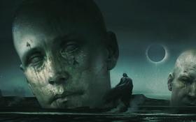 Обои небо, ночь, фантастика, человек, капюшон, затмение, статуя