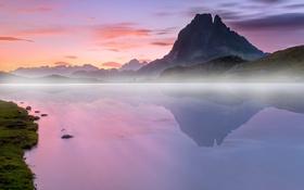 Картинка пейзаж, озеро, отражение, Франция, гора, Пиренеи, Миди-д'Осо