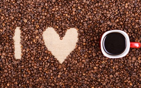 Обои кофе, love, heart, beans, coffee