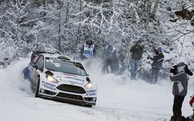 Обои Ford, Снег, Занос, WRC, Rally, Fiesta, Elfyn Evans