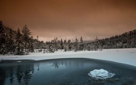 Обои зима, озеро, вечер