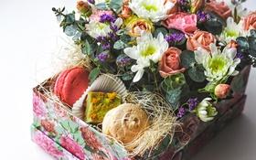 Картинка розы, букет, хризантемы, пирожные, композиция