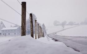 Обои дорога, снег, забор