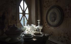 Обои фон, окно, посуда