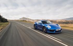 Обои 911, Porsche, порше, синяя, Targa, тарга