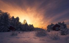 Картинка зима, закат, дома