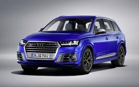 Картинка синий, фон, Audi, ауди, кроссовер
