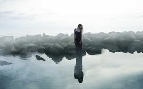 Обои девушка, природа, река