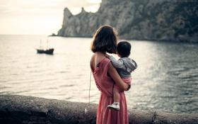 Обои море, ребёнок, лодка, девушка
