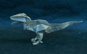 Обои бумага, оригами, T-Rex, Тираннозавр