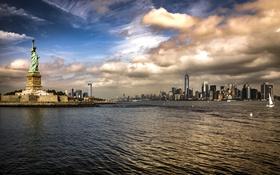 Обои небо, облака, река, Нью-Йорк, небоскребы, залив, США