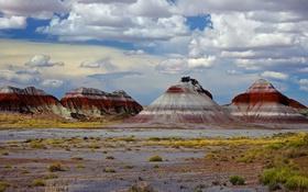 Обои горы, скалы, краски, Аризона, США, Petrified Forest National Park