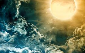 Обои небо, солнце, облака, свет, яркий, блики