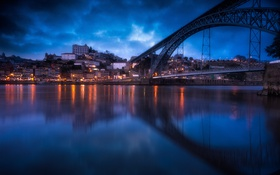 Картинка мост, отражение, дома, Португалия, Дуэро, вечер, Порту
