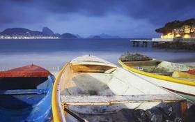 Обои море, горы, тучи, огни, лодка, Бразилия, Рио-де-Жанейро
