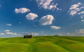 Картинка небо, облака, деревья, холмы, Италия
