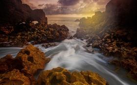 Обои море, небо, пейзаж, камни, берег, Бразилия