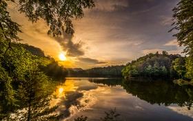 Обои небо, солнце, облака, лучи, деревья, ветки, озеро