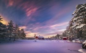 Обои зима, дом, утро