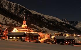 Обои зима, лес, небо, звезды, снег, горы, ночь