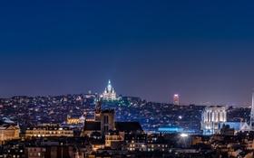Обои ночь, город, огни, Франция, Париж, дома, панорама