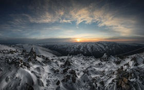 Обои горы, природа, Sunset, Bulgaria