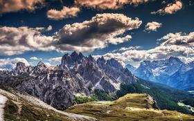 Обои облака, горы, скалы, hdr