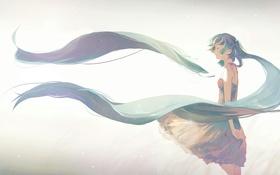 Обои hatsune miku, vocaloid, арт, аниме, волосы, девушка