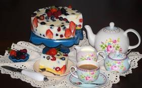 Обои ягоды, малина, кофе, клубника, торт, сервиз, голубика