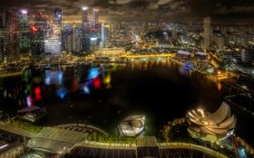 Обои ночь, огни, здания, HDR, небоскребы, Сингапур