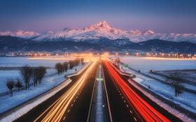Обои Paolo Lombardi, photographer, шоссе, вечер, трасса, фары, движение