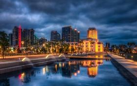 Обои пальмы, небоскребы, небо, отражение, дома, Сан-Диего, фонтаны