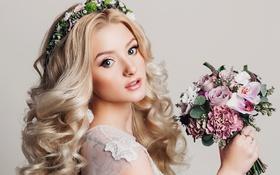 Картинка взгляд, девушка, цветы, фон, букет, макияж, прическа
