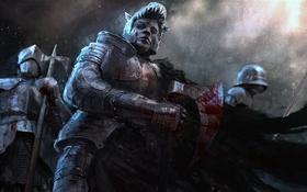 Обои взгляд, оружие, кровь, воин, броня, Рыцарь