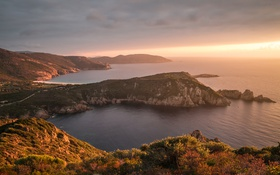 Обои море, скалы, рассвет, побережье, Франция, горизонт, Corsica