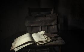 Обои стул, портфель, журнал