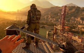Обои soldier, sunset, knife, stealth, first-person, Dying Light the following