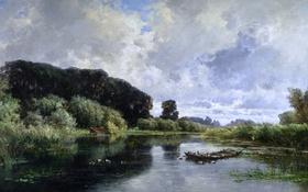 Картинка деревья, пейзаж, птицы, природа, река, картина, Карлос де Хаэс