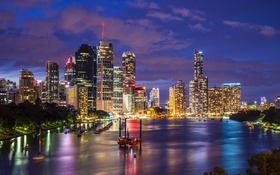 Обои ночь, огни, река, дома, небоскребы, лодки, Австралия