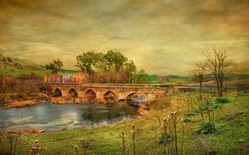 Обои мост, природа, река, холмы, краски, текстура, холст