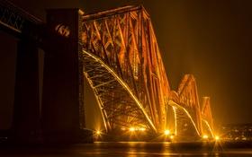 Обои ночь, мост, огни, Шотландия, залив, Edinburgh, Forth Bridges