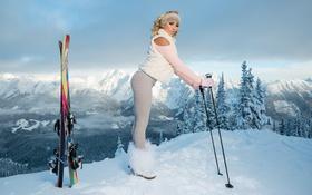 Картинка холод, зима, девушка, снег, горы, модель, лыжи
