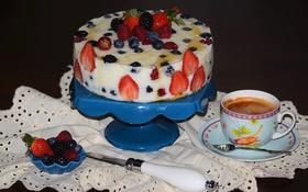 Обои ягоды, кофе, торт